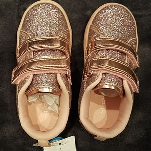 Pink shoes with multi color glitter